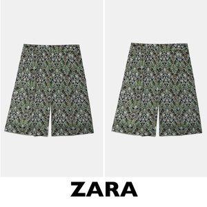 ZARA Green Printed Bermuda Shorts Size XS